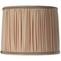 Pleated Peach Drum Lamp Shade 13x14x11 (Spider)