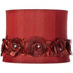 Wine with Flower Trim Drum Shade 11x12x9 (Spider)