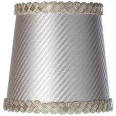 Embossed Beaded Silver Lamp Shade 4x5x5 (Clip-On)