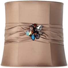 Tan Ribbon Jewel Broach Drum Shade 9x19x9.5 (Spider)