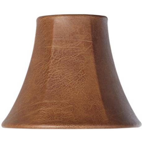 brown faux leather lamp shade 3x6x5 clip on y1843. Black Bedroom Furniture Sets. Home Design Ideas