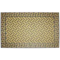 Flocked Solid Greek Key 2'x3' Beige Door Mat