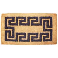 "Imperial Greek Key 1'8""x2'9"" Beige Coir Door Mat"