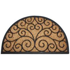 "Tuffridge Half Round 1'6""x2'6"" Coir Rubber Door Mat"