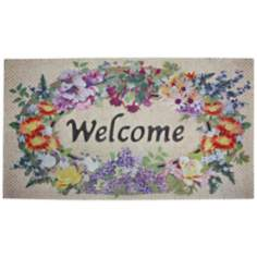 "Floral Welcome 31"" Wide Recycled Rubber Door Mat"
