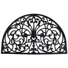 "Wrought Iron 1'6""x2'6"" Half Round Rubber Door Mat"