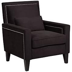 Anais Black Velvet Chair with Pillow