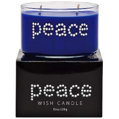 Peace Hand-Jeweled Blue Wish Candle