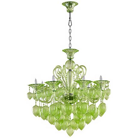 Bella Green Glass Chandelier