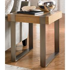 Flatiron Nickel Sandy Brown Square End Table