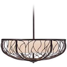"Lyric Leaf 26"" Wide Bronze Pendant Chandelier"