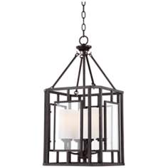 "Franklin Iron Works Cage 13"" Wide Bronze Entry Chandelier"