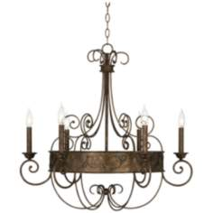 "Rust Candelabra 30"" Wide Bronze Scroll Chandelier"