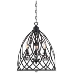 "Franklin Iron Works Bell Cage 22"" High Metal Mini Chandelier"
