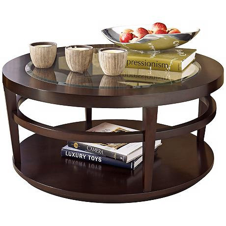 Hammary urbana merlot round cocktail table for Table urbana but