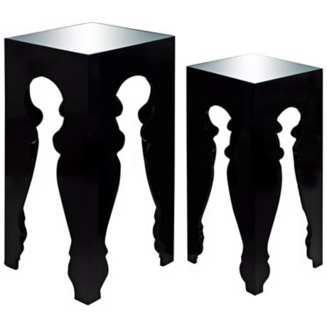 Set of 2 Mirror Top Black Pedestal Tables