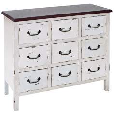 9 Drawer Distressed White Wood Dresser