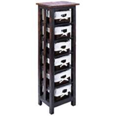 6 Basket Wood Rattan Storage Unit