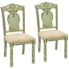 Set of 2 Pale Moss Green Wood Fabric Chairs