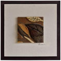 "Molded Glass Leaves I 23"" Square Framed Wall Art"