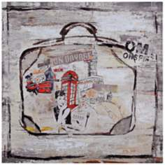 "Suitcase I 30"" Square Hand-Painted Travel Wall Art"