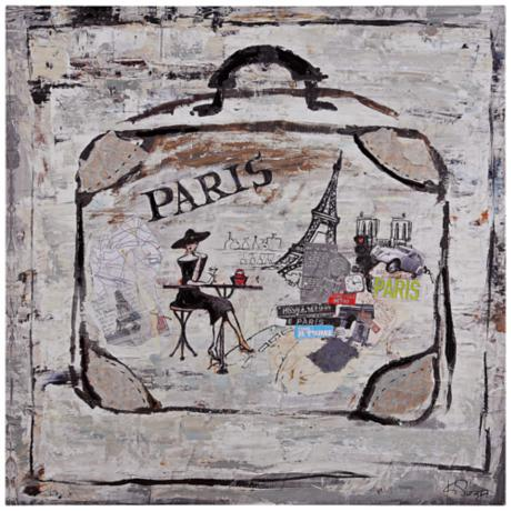 "Suitcase II 30"" Square Hand-Painted Travel Wall Art"