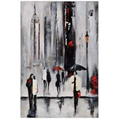 "Bustling City I 34"" Square Hand-Painted Wall Art"