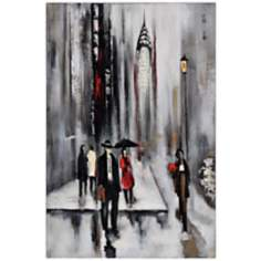 "Bustling City II 30"" Square Hand-Painted Wall Art"