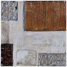 "Neutral Metallic II 20"" Square Abstract Wall Art"