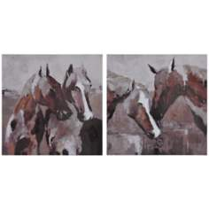 "Set of 2 Equine 20"" Square Horse Wall Art Prints"