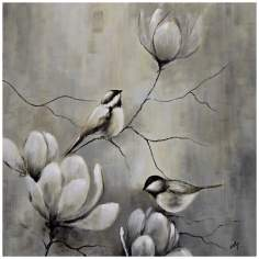 "Birds and Flowers 30"" Square Hand-Painted Wall Art"