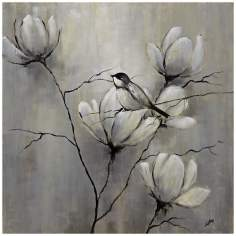 "Birds and Flowers II 30"" Square Hand-Painted Wall Art"