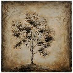 "Nature Silhouette II 24"" Square Oil Painting Tree Wall Art"