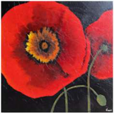 "Pop Art Poppies 30"" Square Hand-Painted Wall Art"