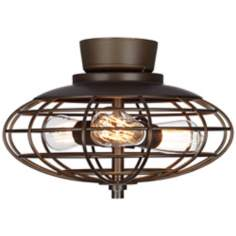 Oil-Rubbed Bronze Industrial Cage 3-40 Watt Ceiling Fan Light Kit