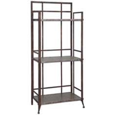 Foundry Antique Pewter Tall 3-Shelf Bookcase