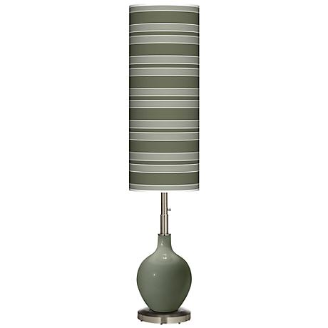 Deep Lichen Green Bold Stripe Ovo Floor Lamp