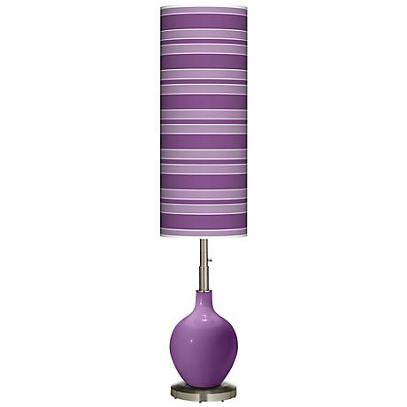 Passionate Purple Bold Stripe Ovo Floor Lamp