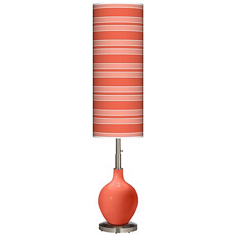 Daring Orange Bold Stripe Ovo Floor Lamp