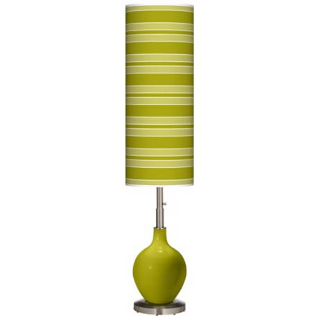 Olive Green Bold Stripe Ovo Floor Lamp