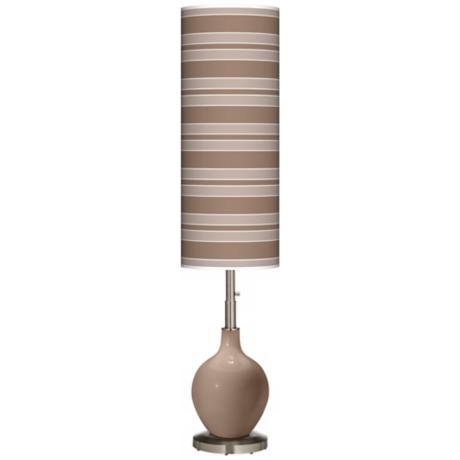 Mocha Bold Stripe Ovo Floor Lamp
