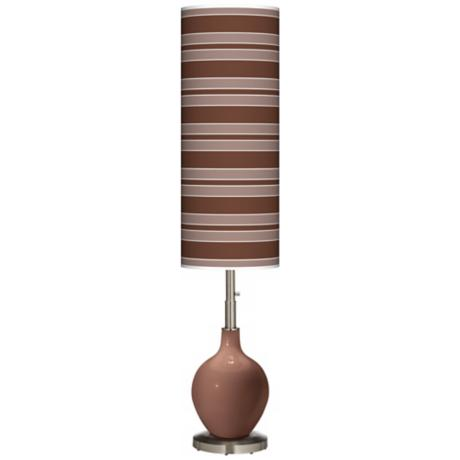 Rugged Brown Bold Stripe Ovo Floor Lamp