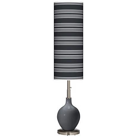 Black of Night Bold Stripe Ovo Floor Lamp