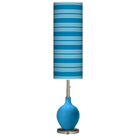 River Blue Bold Stripe Ovo Floor Lamp