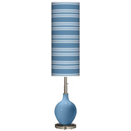 Secure Blue Bold Stripe Ovo Floor Lamp