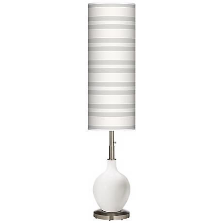 Winter White Bold Stripe Ovo Floor Lamp