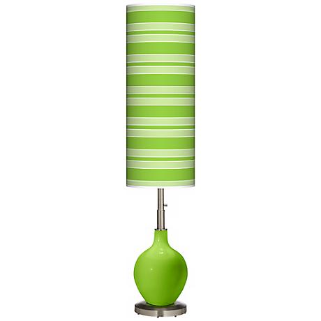 Neon Green Bold Stripe Ovo Floor Lamp