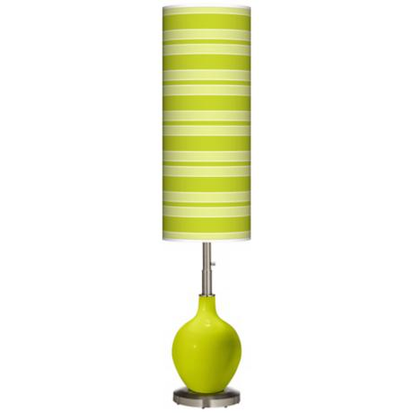 Pastel Green Bold Stripe Ovo Floor Lamp