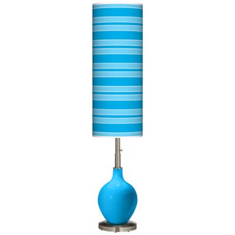 Sky Blue Bold Stripe Ovo Floor Lamp