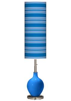 Royal Blue Bold Stripe Ovo Floor Lamp